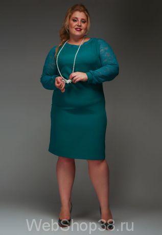 Бирюзовое платье с гипюровыми рукавами
