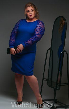 Синее платье с гипюровыми рукавами