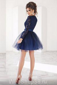 Супер крутое короткое коктейльное темно-синее платье с пышной фатиновой юбкой