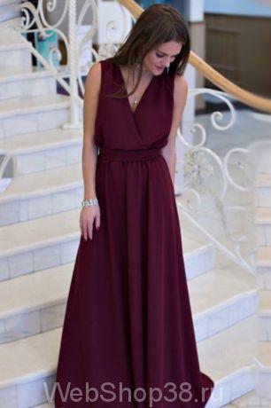 Вечернее красивое длинное платье в пол из шифона с декольте цвет марсала
