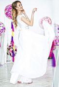 Красивое белое вечернее платье в пол верх кружево юбка шифон пояс стразы свадебное для невесты